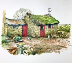 "David Steeden on Instagram: ""Old stone buildings on a local farm #penandwatercolorsketch #penandwash #penandwashdrawing #lineandwash #urbansketching #urbansketches…"" Pen And Wash, Pen And Watercolor, Old Stone, Urban Sketching, Buildings, Sketches, David, Graphics, Drawings"