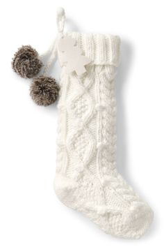 Cable Knit Pom Christmas Stocking from Lands' End