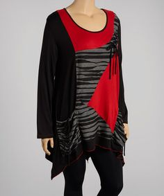 Loving this Black & Red Patchwork Sidetail Tunic - shame it only comes in Plus on #zulily! #zulilyfinds