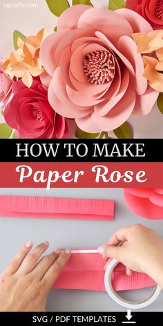 Paper Flower Making, Paper Wall Flowers Diy, How To Make Flowers Out Of Paper, Flower Making Crafts, Paper Flowers Roses, Art Deco Flowers, Crepe Paper Roses, Rose Crafts, Large Paper Flowers