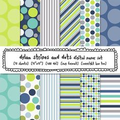digital paper stripes polka dots, boys blue aqua navy gray lime green, digital backgrounds, birthday baby shower, instant download 430