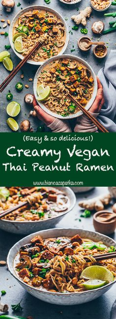 quick and easy Vegan Thai Peanut Ramen Noodle Soup is made with a super creamy peanut coconut broth, roasted mushrooms, and crispy tofu. It's a healthy, spicy and delicious Japanese noodle soup that comes together in under 20 minutes! Sopa Ramen, Ramen Noodle Soup, Ramen Noodles, Vegan Noodle Soup, Thai Noodle Soups, Noodle Noodle, Curry Ramen, Veggie Noodles, Zucchini Noodles