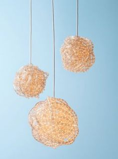 We clipped this idea from an old issue of ReadyMade Magazine. As the holidays approach, we're revisiting the Rope Light Chandelier as a great decoration for a New Year's Eve party. We'd like to see clusters of these hanging in a window or an archway. The ingredients add up to about $50: rope lights, extension cord, zip ties, and ceiling hooks. The extension cord acts as the core, while the rope lights are basically coiled around the core like a rubberband ball, using zip ties to s...