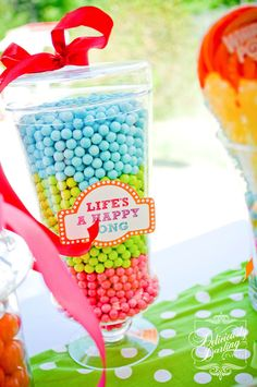 Sixlets are a MUST on every candy buffet.  They come in great pearlized colors and are perfect for layering.