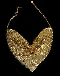 Stunning Vintage Gold Mesh Scarf Statement Necklace Bib Chevron Costume Jewelry 1970s glomesh