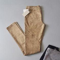Bella Philosophy 2016 autumn winter fold MOTO high waist retro elastic stretch slim faux suede leggings