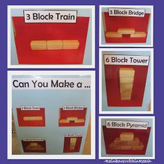 Visual Learning in the Block Center, Photographs of beginning block structures