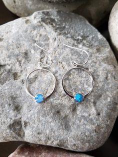 Facette Topaze Bleue Triple-Gem 925 Sterling Silver Dangle Boucles d/'oreilles