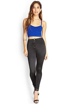 Your favorite skinny fit, these high-waisted pants are made from a sleek satin fabric. Complete with a pocketless front, patch back pockets, and a zip fly.   http://foxyblu.com/details/118214