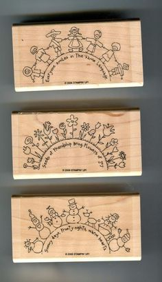 "NEW*** Stampin' Up! ""The World Over"" 3 Piece Stamp Set Assembled-not used"