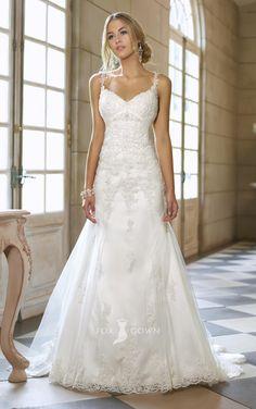 elegant lace overlay spaghetti strap sleeveless a-line v-back wedding dress
