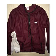 *PINK* BURGUNDY WINDBREAKER! Only worn once. Perfect condition! PINK Victoria's Secret Jackets & Coats