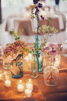 different jar combination wedding centerpiece