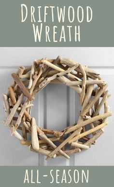 Driftwood Wreath: Featuring natural driftwood, our seaside-inspired wreath can dress up your door season after Driftwood Wreath, Driftwood Projects, Driftwood Art, Beach Crafts, Affordable Home Decor, Handmade Home Decor, Porch Decorating, Holiday Decorating, Coastal Decor