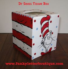 Dr Seuss Cat in the Hat Hand Painted Tissue Box Boutique Quality by FunkyLetterBoutique