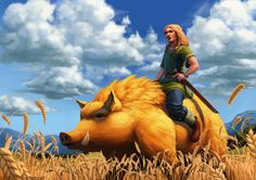 Freyr, Norse god of fertility, virility, fair weather as well as peace and prosperity, along here with his boar Gullinbursti (Roughly 'Golden Bristles') whom was made by dwarven smiths Brokkr and Eitri as part of a bet with Loki. He's one of the...