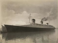 The Normandie, peerless flagship of The French Line, viewed at Pier 88, New York City, her inaugural year of 1935.