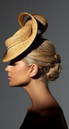Straw Hat with Small Brim ~ 'Miranda by Richard Nylon Millinery, Couture Headwear . Millinery Hats, Fascinator Hats, Fascinators, Headpieces, Smoking Noir, Crazy Hats, Fancy Hats, Wearing A Hat, Love Hat