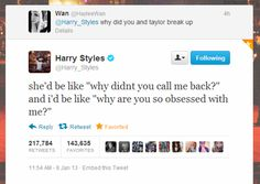And here we have Harry Styles quoting mean girls. Harry Styles everybody Harry Styles Quotes, Harry Styles Funny, Harry Styles Tweets, One Direction Humor, I Love One Direction, Style Zayn Malik, Mean Girl Quotes, Just In Case, Just For You