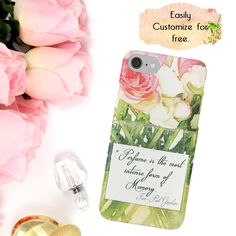 Pink Flowers Phone Case, Roses Bouquet, Perfume Fashion Phone Case, Perfume Quote,  iPhone 6 7 Plus, Samsung Galaxy Case, Phone Wallet, Gift by ChezLorraines on Etsy