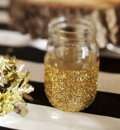 GLITTERED MASON JARS Wedding Decor New Years Eve Party Bride Groom Party Table Shabby Chic Glass Decoration. $22.50, via Etsy. | best stuff