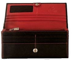 Visconti Cd21 Quality Soft Leather Wallet / Purse / Clutch / Holder (Black / Red) Visconti. $35.99. Snap close to keep wallet securely shut. leather. A soft Leather wallet from the popular Visconti collection. Double and Contrast Stitching. 7 Large compartments inside with 2 zipped in the back. Holds 10 creit cards + 1 Window ID +1 Compartment for notes. Save 25%!