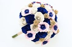 Literary Wedding Bouquet with roses, poppies, and sweet gums. Custom designed with your colors!