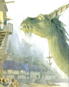 Alan Lee, illustration for a book called The Moon's Revenge by Joan Aiken Alan Lee, Fantasy Creatures, Mythical Creatures, Tolkien, Illustrations, Illustration Art, Dragons, John Howe, Dragon Art