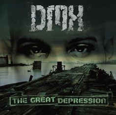 Hip hop album cover for rapper DMXs album THE GREAT DEPRESSION. The scene has a broken down bridge leading to water and the top half of his face is in the background. The overall color of the album is a green tint.
