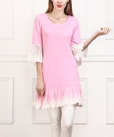Another great find on #zulily! Light Pink Lace-Trim Tunic by Reborn Collection #zulilyfinds