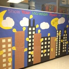superhero bulletin board - Google Search....maybe as a picture booth screen for warren bday party