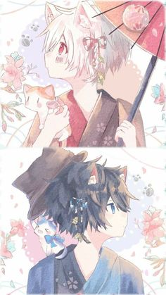 Neko Soraru x Mafumafu Anime Neko, Manga Anime, Cute Anime Boy, Anime Art Girl, Anime People, Anime Guys, Neko Boy, Cute Chibi, Anime Style
