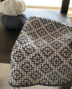 Ravelry: Welsh Blanket knitting pattern by Debbie Bliss. I want to find a similar crochet pattern.