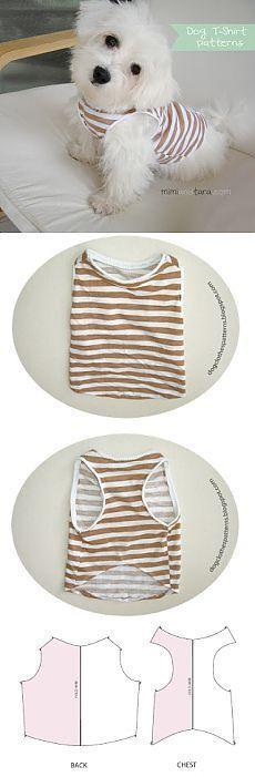 T-shirt do cão modelo | Mimi e Tara | Livre o cachorro Vestuário Patterns
