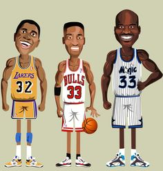 NBA Legends - Noble. (www.behance.net/nobleone) Magic Johnson, Scottie Pippen, Shaquille O'neal
