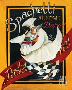 Spaghetti Chef Art Print by Jennifer Garant at Art.com