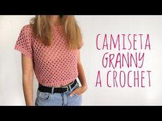 CAMISETA GRANNY - Tutorial crochet - YouTube Diy Crochet, Crochet Top, Crochet Blouse, Crop Tops, Youtube, Pattern, Videos, Women, Fashion