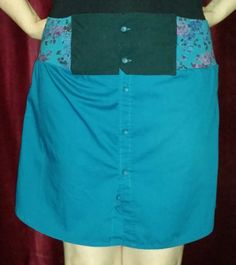 Skirt Upcycled from a man's button down and a woman's blouse  http://www.slideshare.net/IrisMcLeod/upcycled-turquoise-skirt