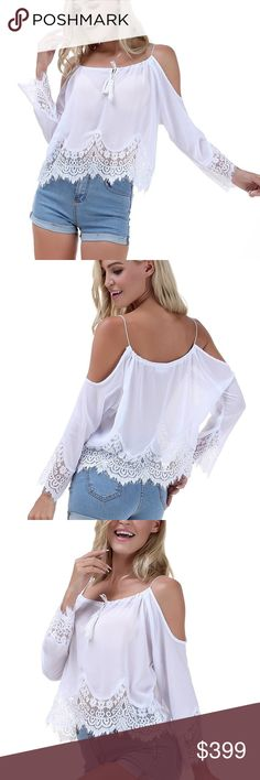 """White Lacy Cold Shoulder Bo-ho Crop Blouse M Beautiful Lacy bo-ho chic, white cold shoulder crop blouse size M. Gorgeous lace detailing on the hem and sleeves p. Airy lightweight sheer fabric. Pairs perfectly with distressed jeans or shorts. 95% Polyester / 5% Viscose. Flat lay measurements : 19"""" length / 23"""" width / 23"""" sleeve length. Please LMK if you have any questions. 30% discount when using the bundle feature. NO TRADES! Goensshopping Tops"""