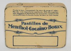 Vintage throat sweat tin Pastilles de Menthol COCAINO Borax
