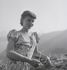 Audrey Hepburn in Monaco for the film Monte Carlo Baby visiting the medieval village of Eze in 1951. ©edwardquinn.com