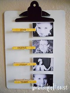 Cute FHE Reminder - love using the pictures with the clothes pins! :)