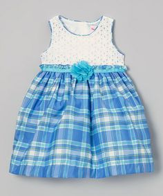 Look what I found on #zulily! White & Blue Plaid Dress - Infant, Toddler & Girls #zulilyfinds