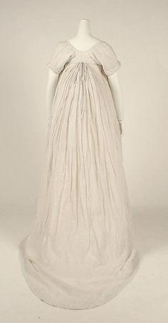 Dress Date: 1798 Culture: British Medium: cotton Dimensions: Length at CB: 70 in. (177.8 cm)