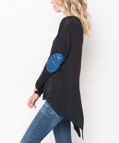 Another great find on #zulily! Black & Navy Glitter Patch Hi-Low Tunic #zulilyfinds