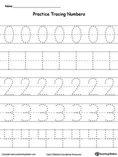 Practice Tracing Numbers 0-4: Teach your preschooler and kindergarten how to write numbers and give them plenty of practice with these tracing worksheets.