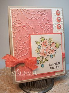double embossed      handmade card ... Bordering on Romance posey with pearl centers ...   luv the soft look of the painting of the flowers ... Stampin' Up!