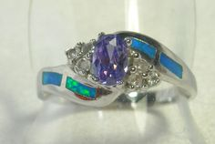 Amethyst and Inlaid Opal Sterling Silver Ring