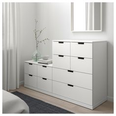 NORDLI white, Chest of 10 drawers, cm. You can build NORDLI chest of drawers any which way – wide, low or in different heights to create the perfect solution for your space. Please attach to the wall. Ikea Bedroom, Room Ideas Bedroom, Bedroom Decor, Box Bedroom, At Home Furniture Store, Modern Home Furniture, Gothic Furniture, Nordli Ikea, Painted Drawers