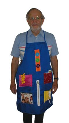 Alzheimer's Activity Aprons are designed for people with dementia disorders.  Each Alzheimer's apron allows a regular mental workout using their busy hands and brain. The six secured memory activities allow recall and bonding of simple everyday tasks with four activities on sewn pockets.